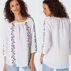 J Jill linen white embroidered peasant top